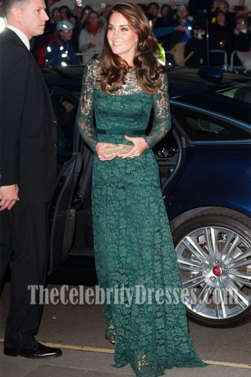 Kate Middleton Long Green Lace Evening Dress