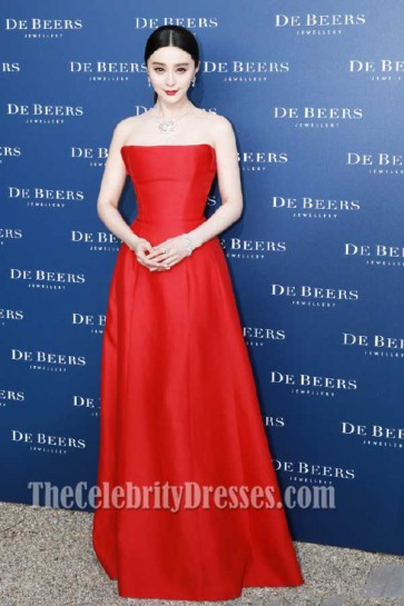 Fan Bingbing Red Strapless Evening Prom Gown De Beers