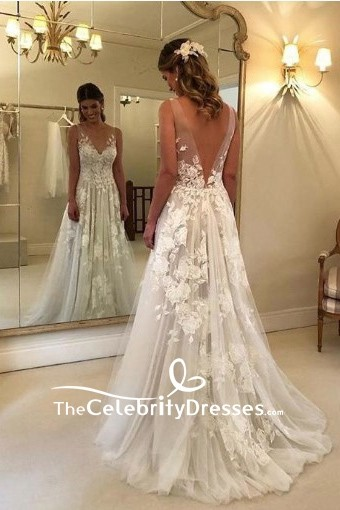 A-line Low V-neck White Appliques Wedding Prom Dress