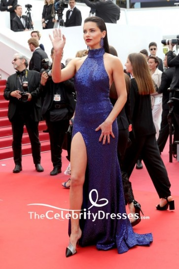Adriana Lima Halter Sequins High Slit Evening Dress 2019 Cannes Film Festival