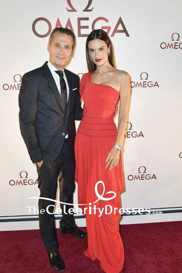 Alessandra Ambrosio Red Ruffled One-shoulder Evening Dress With One Sleeve Omega Aqua Terra Collection Celebration
