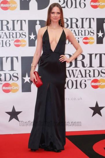 Alicia Rountree 2016 Brit Awards Black Backless  Evening Dress Deep V Slit Prom Gown  1