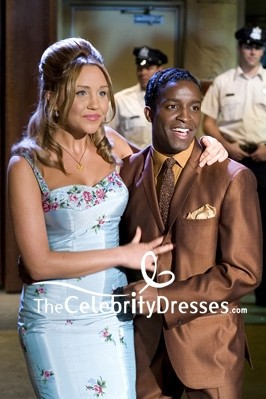 Amanda Bynes Light Sky Blue  Embroidered Cocktail Dress With Coat In Move Hairspray