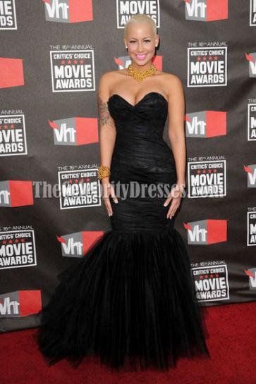 Amber Rose Black Mermaid Prom Formal Dress 16th annual Critics' Choice Movie Awards