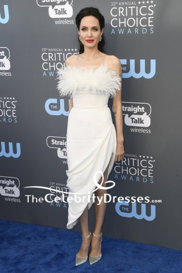 Angelina Jolie White Leather Cocktail Dress 2018 Critics' Choice Awards Red Carpet