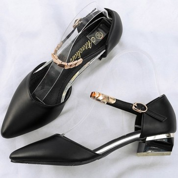 Ankle Buckle Chunky Low  Heels Pointed Toe Shoes For Women