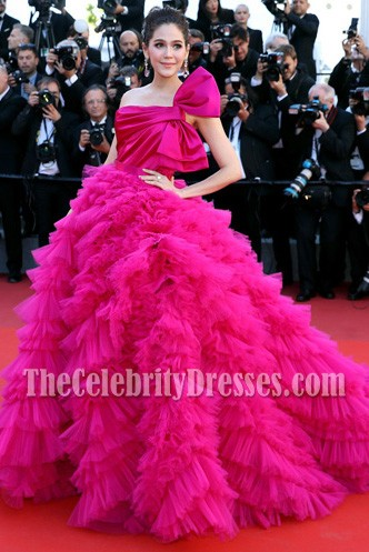 Araya Hargate Fuchsia One-shoulder Backless Princess  Ball Gown 2017 Cannes Film Festival