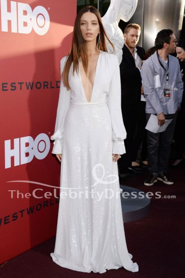 Angela Sarafyan - Robe de soirée blanche à manches longues Première de Westworld Saison 2 de HBO