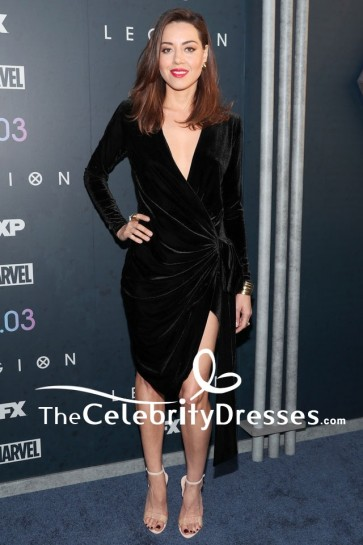 Robe de soirée noire à manches longues Aubrey Plaza Première de la saison 2 de la légion FX