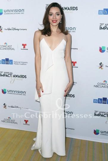 Robe de soirée blanche Aubrey Plaza 21e Gala annuel des prix NHMC Impact