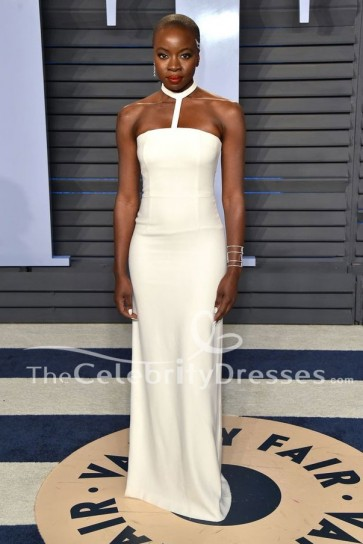 Danai Gurira blanc Halter robe de soirée 2018 Oscar Party Dress