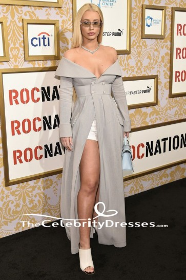 Iggy Azalea Argenté Manches Longues Robe de Soirée 2018 Roc Nation Pré-Grammy Brunch Dress