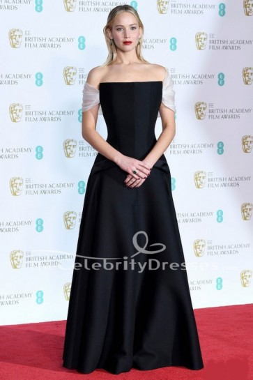 Jennifer Lawrence Black Off-the-Shoulder Evening Dress 2018 BAFTAs Red Carpet Gown
