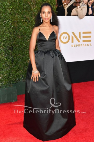 Kerry Washington Noir robe de soirée 2018 NAACP Image Awards tapis rouge