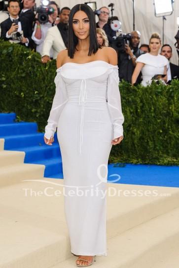 Kim Kardashian Blanc Manches Longues Robe de Soirée Met Gala 2017 Réplique
