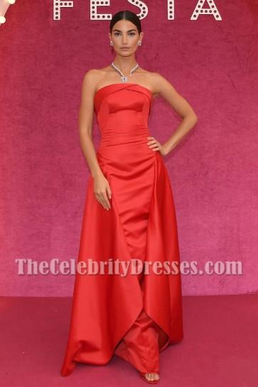 Lily Aldridge Rouge robe sans bretelles formelle Bvlgari Festa robe de fête