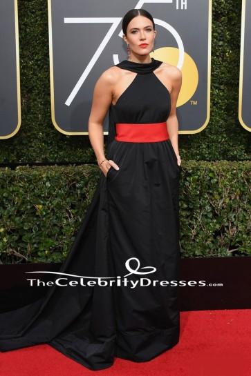 Mandy Moore 2018 Golden Globe Awards Robe de cérémonie noire robe de soirée