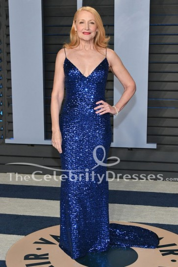 Patricia Clarkson Robe de Soirée Paillettes Bleu Royal 2018 Vanity Fair Oscar robe de soirée