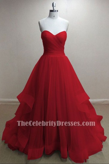 Gorgeous Red Tulle Sweetheart Strapless Ball Gown Prom Dresses