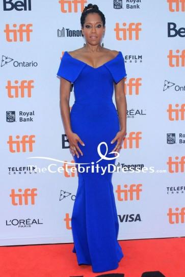 Regina King Royal Blue Evening Formal Dress 2018 Toronto International Film Festival TCD8293