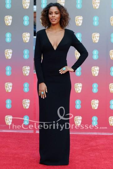 Rochelle Humes Robe de Soirée Plongée Noire à Manches Longues 2018 Robe de Soirée Rouge BAFTAs