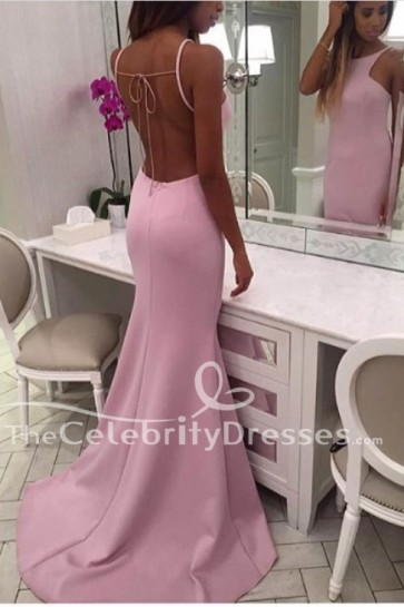 Long Pink Backless Mermaid Evening Dress Prom Formal Gown TCDFD7735