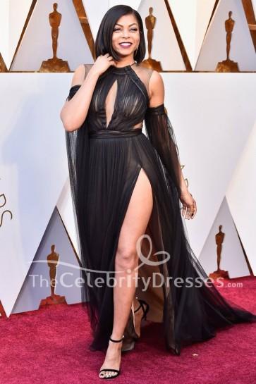 Taraji P. Henson 2018 Oscars Noir Tulle robe de soirée célébrité tapis rouge robe