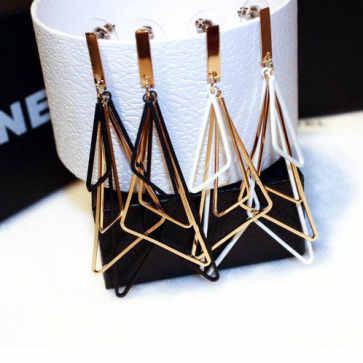Women's Fashion Two-color Triangle Earrings TCDE003