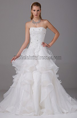 A-line Strapless Chapel Train Organza Tiered Wedding Dress