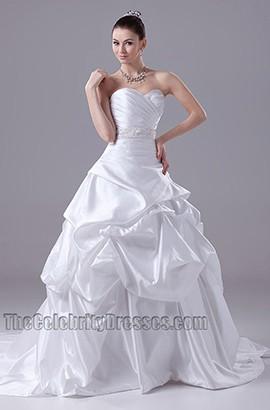 A-Line Taffeta Sweetheart Strapless Wedding Dress