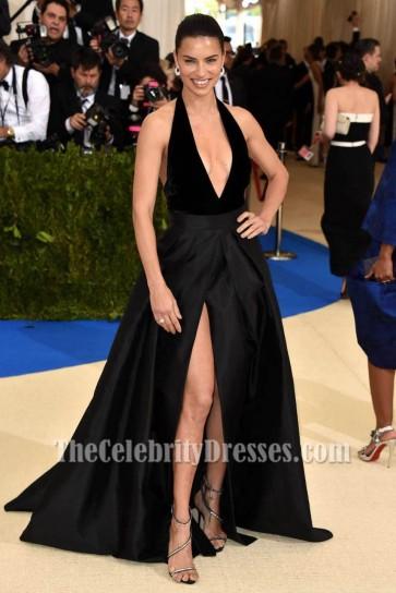 Adriana Lima a rencontré gala 2017 robe de soirée noire Halter robe de bal
