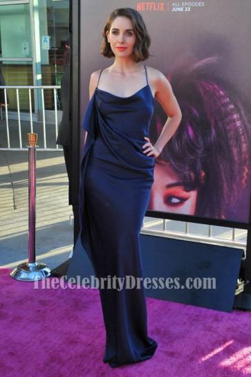 Alison Brie - Robe de soirée dos nu bleu marine Glow-LA-Premiere