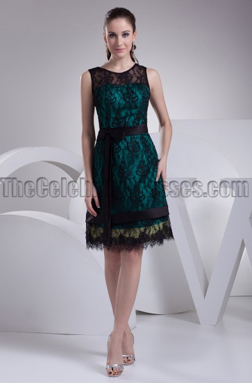 Black Lace Cocktail Party Graduation Dresses