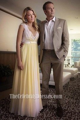 Blake Lively Yellow Chiffon Lace Prom Dress Gossip Girl Season 6 Fashion