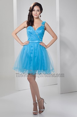 Blue Tulle One One Shoulder Short Party Homecoming Dress