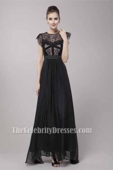 Celebrity Inspired Black A-Line Evening Dress Prom Gown
