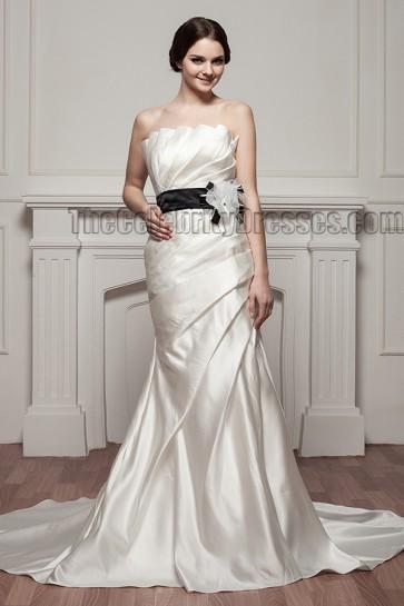 Celebrity Inspired Mermaid Strapless Wedding Dress With A Black Belt
