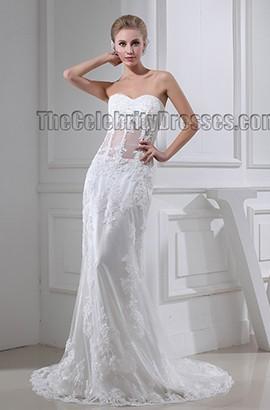 Celebrity Inspired Sheath/Column Lace Sweetheart Wedding Dress Bridal Gown