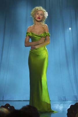 Christina Aguilera Sexy Green Off-the-shoulder Prom Dress in Burlesque