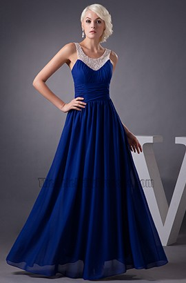Celebrity Inspired Dark Royal Blue Chiffon Prom Dress Evening Gown