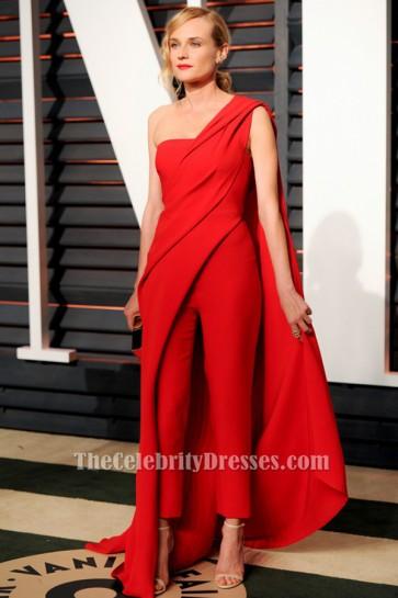 Diane Kruger Combinaison rouge à une épaule Vanity Fair Oscar Party 2015