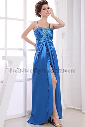 Discount Long Blue Beaded Prom Dress Evening Dresses