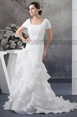 Discount Chapel Train Short Sleeve Organza Wedding Dress