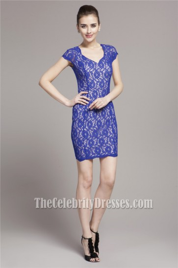 Discount Royal Blue Lace Short Party Cocktail Dress