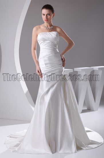 Discount Strapless Satin Mermaid Wedding Dresses
