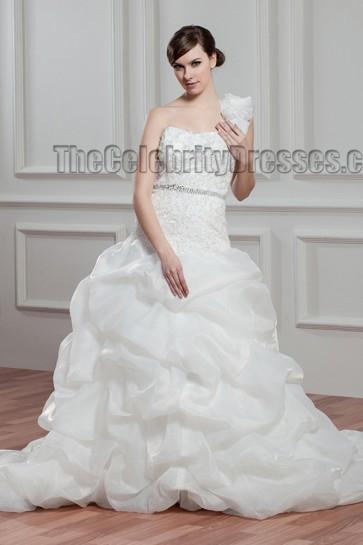 Elegant A-Line One Shoulder Chapel Train Wedding Dresses