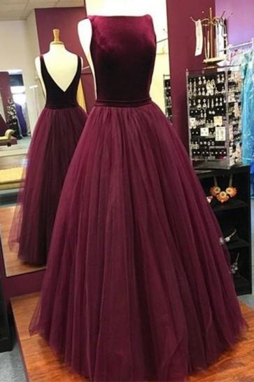 Elegant Low Back Burgundy Sleeveless Prom Dress Military Ball Gowns TCDFD7537