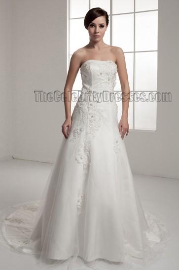 Elegant Strapless A-Line Chapel Train Wedding Dresses