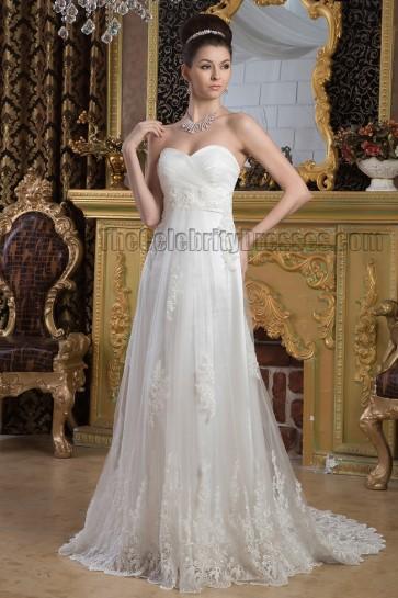 Elegant Strapless Sweetheart A-Line Lace Sweep/Brush Train Wedding Dress