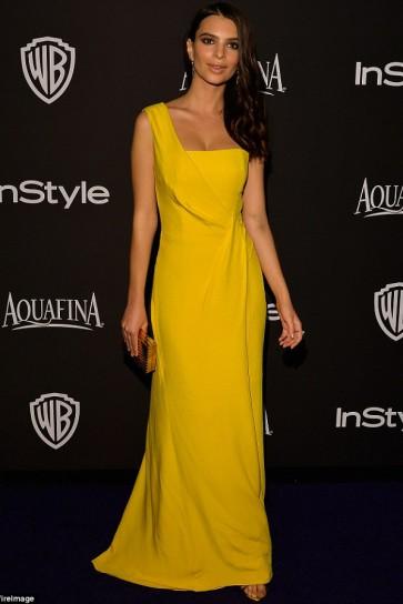 Emily Ratajkowski Jaune une épaule robe de bal Warner Bros. Golden Globes après la fête